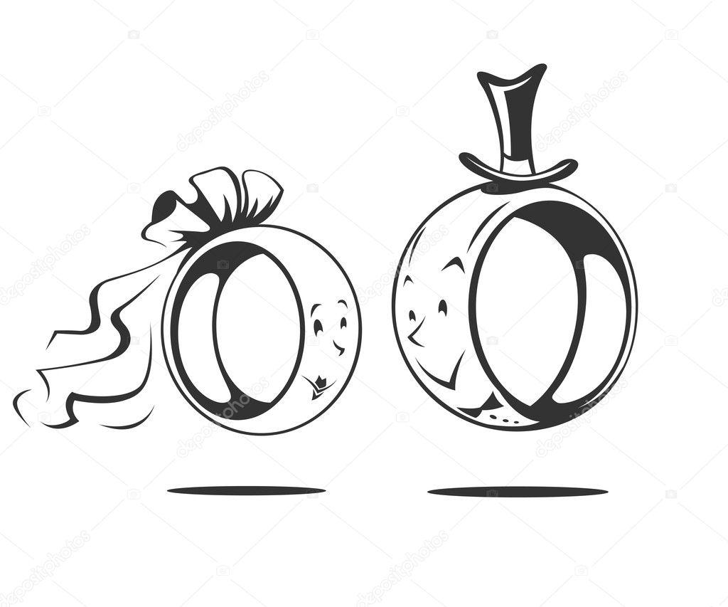 Bridegroom and bride wedding ring Stock Vector sweetok 13603003