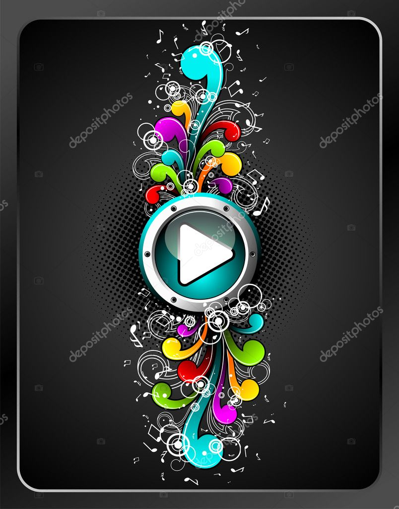 Vector shiny play button with colorfull grunge floral elements on a dark background.