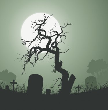 Illustration of a halloween frightening weird dead tree inside graveyard with tombstones and a full moon in the background stock vector