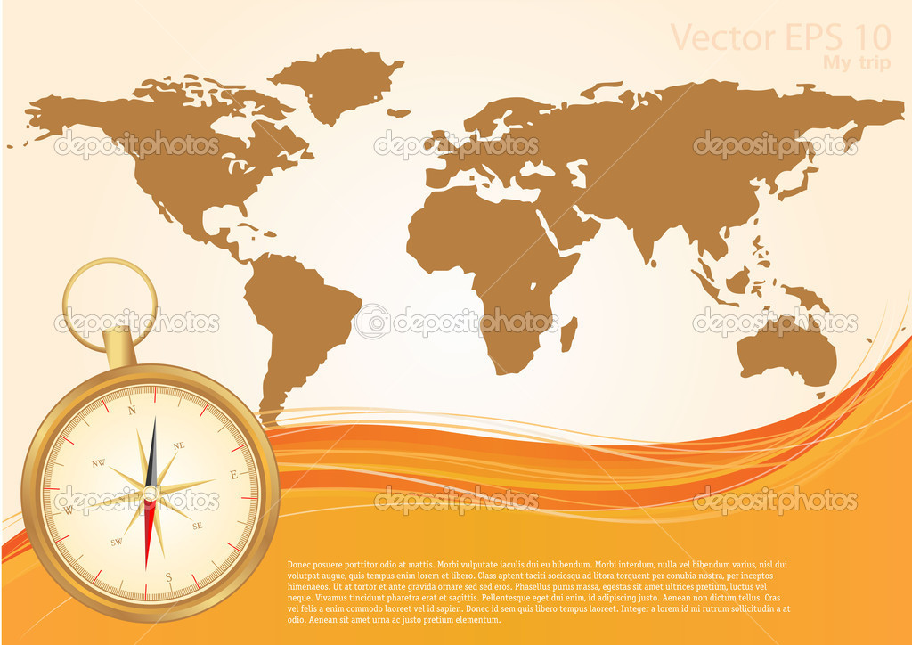 Old world map and compass stock vector mix3r 10910116 old world map and compass stock vector gumiabroncs Choice Image