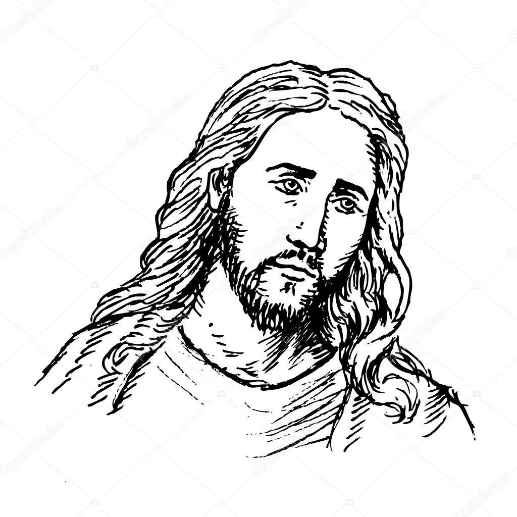 Line Drawing Jesus Christ : Jesus portrait — stock vector dukepope