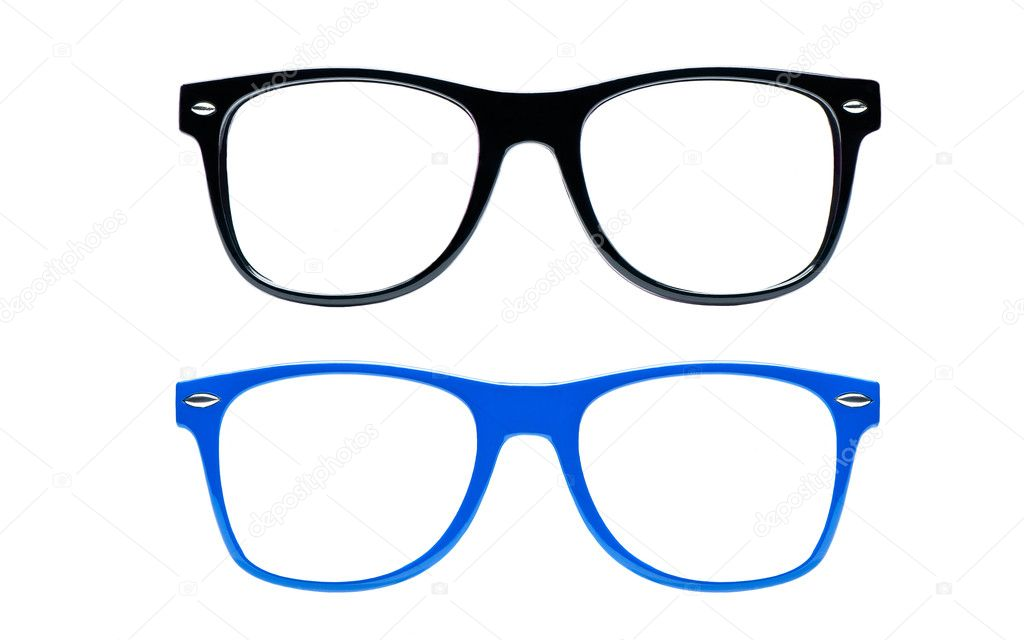 Two nerd Glasses on white background with clipping path, place for text, picture, Set of nerd Glasses