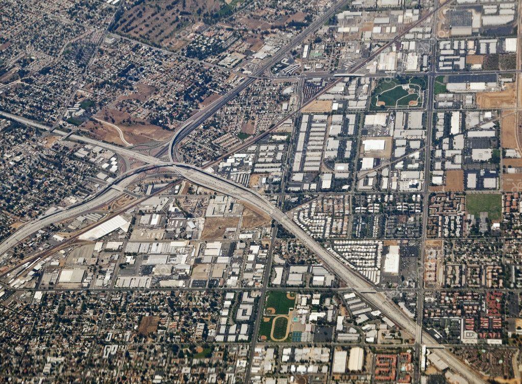 Riverside California Aerial 60 and 91 Freeway Interchange
