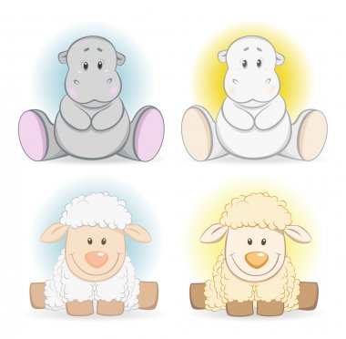 Cartoon hippo and sheep baby toy
