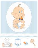 Karikatúra baba fiú tej üveg és a játék ikonok