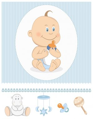 Cartoon baby boy with milk bottle and toy icons. Editable vector illustration stock vector