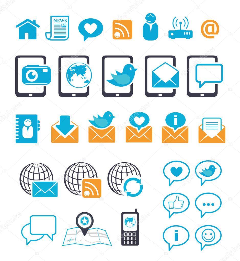 Communication Icons For Mobile Email Chat Stock Vector Teneresa Electric Circuit Symbol Element Set Illustration Vectorielle Libre De Mail Editable By
