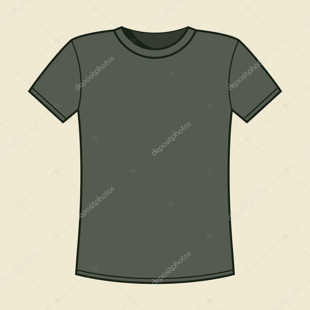 leere graue T-shirt-Vorlage — Stockvektor © nikolae #11070417