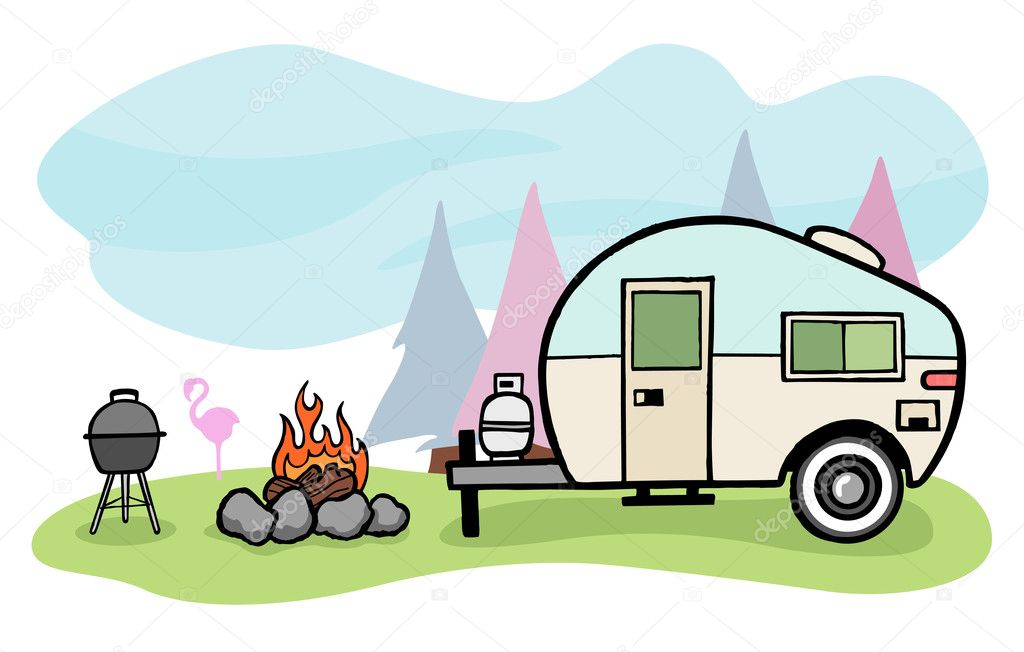 Vintage Style Camper Trailer And Camping Scene Vector By Emberstock