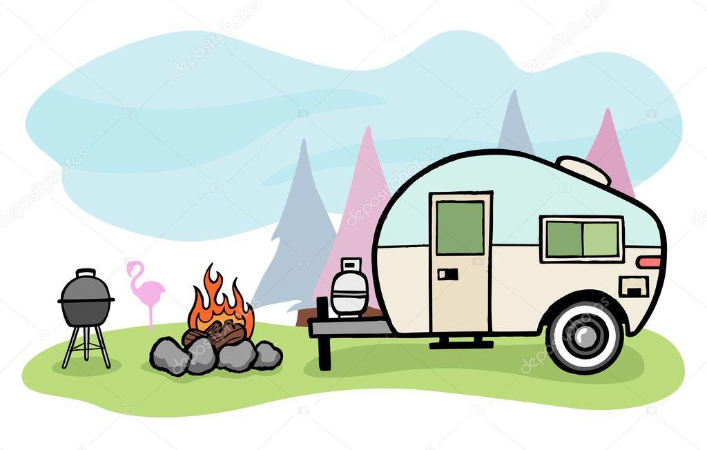 Camper illustration — Stock Vector © emberstock #10919981