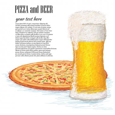 Glass of ice cold beer and a whole pizza