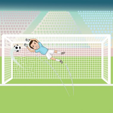 Goal keeper failed saving the soccer ball