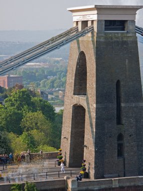 Olympic flame crossing Brunel's bridge into Bristol