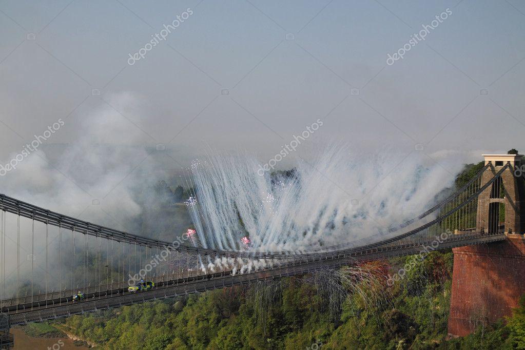 Olympic flame crosses Brunel's landmark bridge