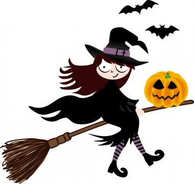 A witch and pumpkin halloween flying on broom
