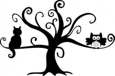 Halloween night owl and cat in tree