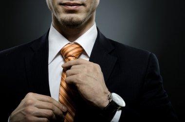 Portrait the beautiful businessman in black costume tie one's necktie stock vector
