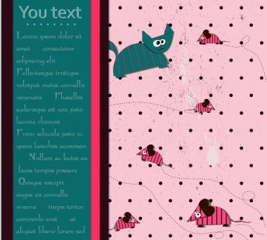 Seamless polka dot background with cat and mouse.