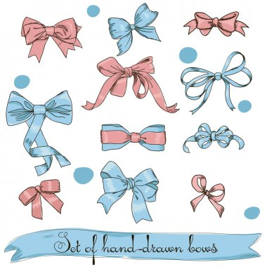 Set of vintage pink and blue bows. Vector illustration EPS8 stock vector