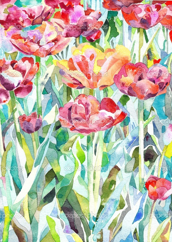 Original watercolor painting of summer spring flower for Spring flowers watercolor