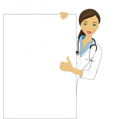 Doctor showing clipboard for text or design