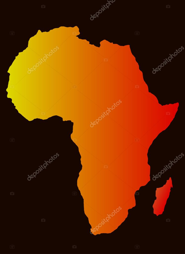 Africa Map Silhouette Vector.Vector Background With Africa Map Silhouette Stock Vector