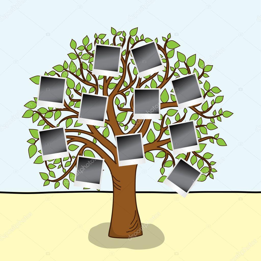 álbum de familia. árbol con marcos para tus fotos — Vector de stock ...