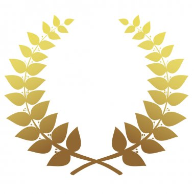 Gold laurel wreath isolated, vector