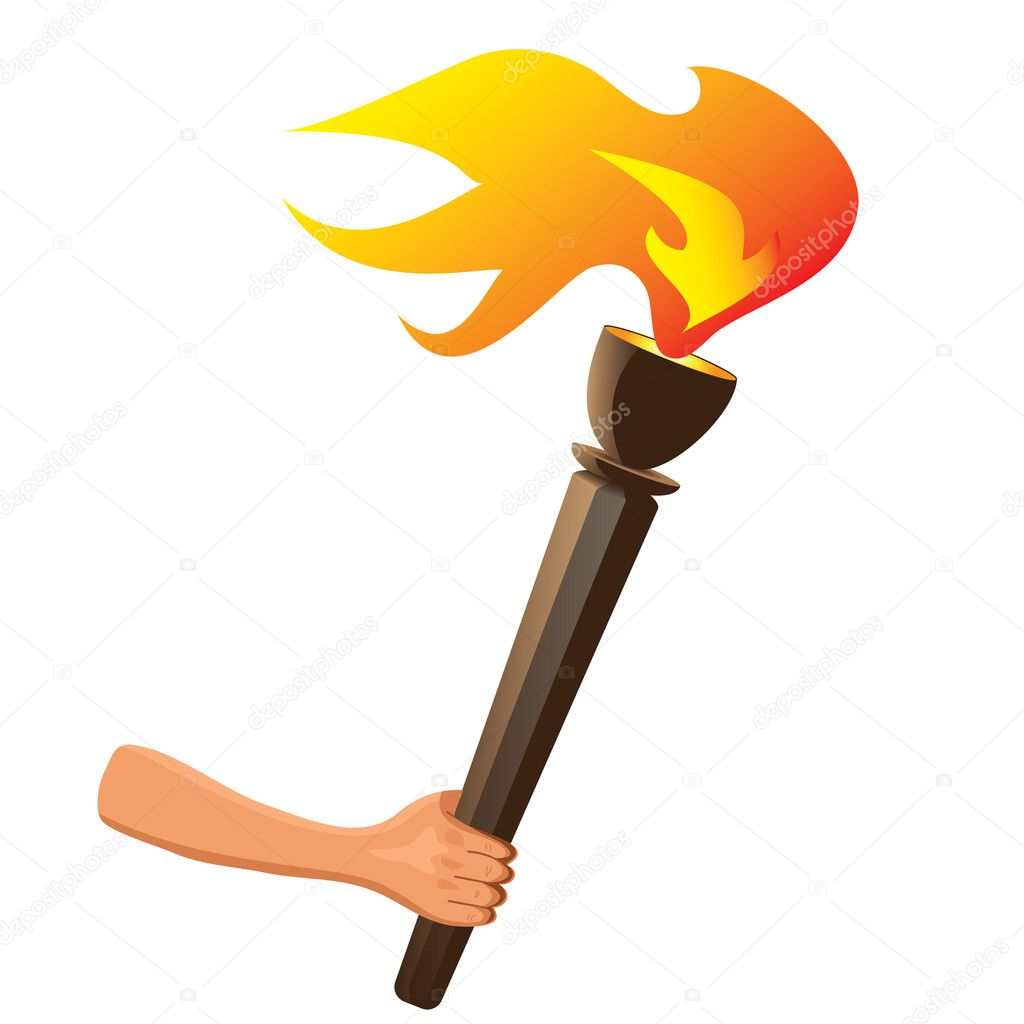 Olympic torch with flame isolated. Vector — Stock Vector ... for Olympic Torch Fire  570bof