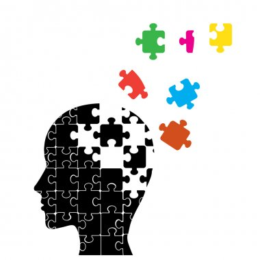 Memory loss man, presented in the form of secondary particles of the brain stock vector