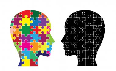 This image illustrates the use of brain hemispheres. stock vector