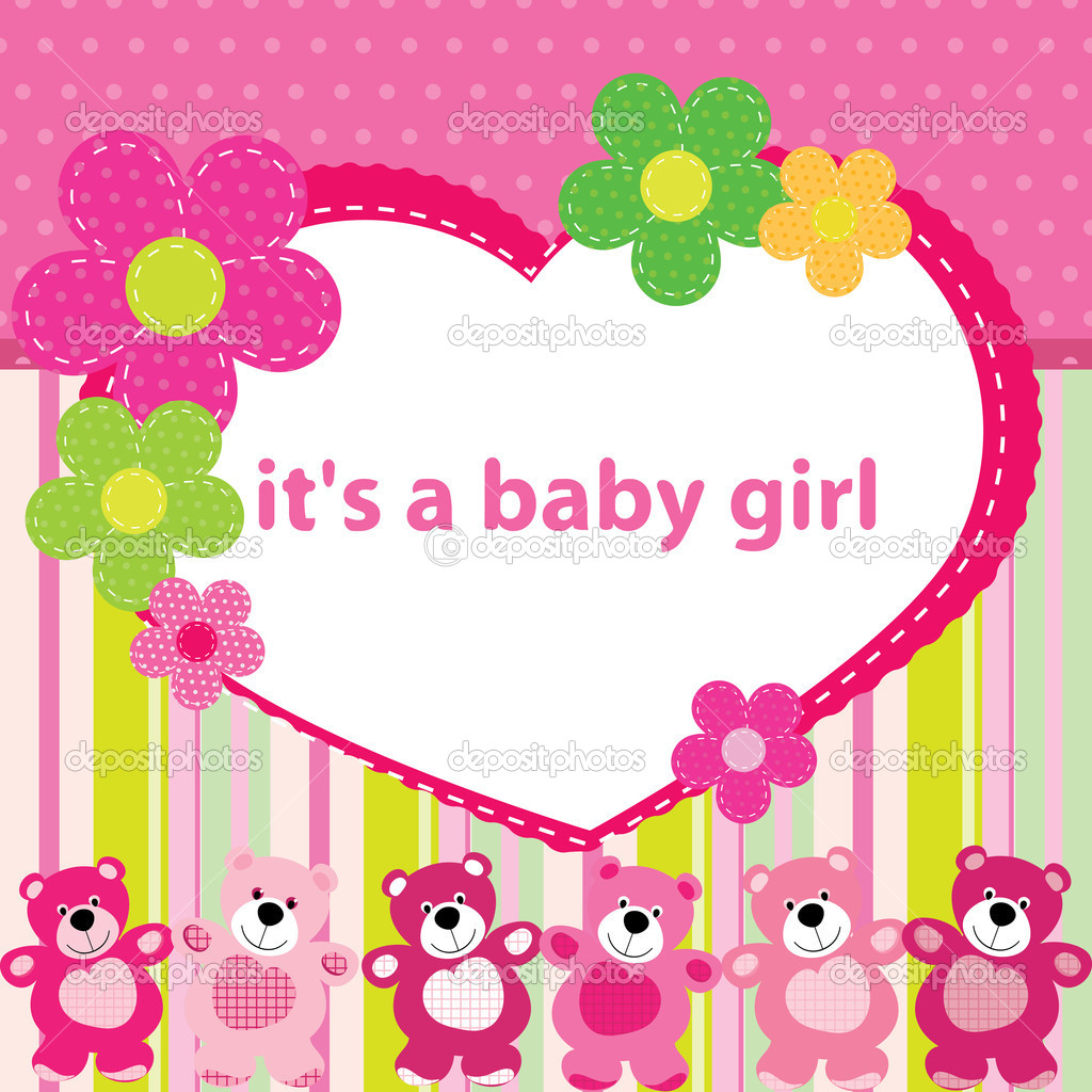 Greeting card with the birth of a baby girl stock vector greeting card with the birth of a baby girl stock vector m4hsunfo