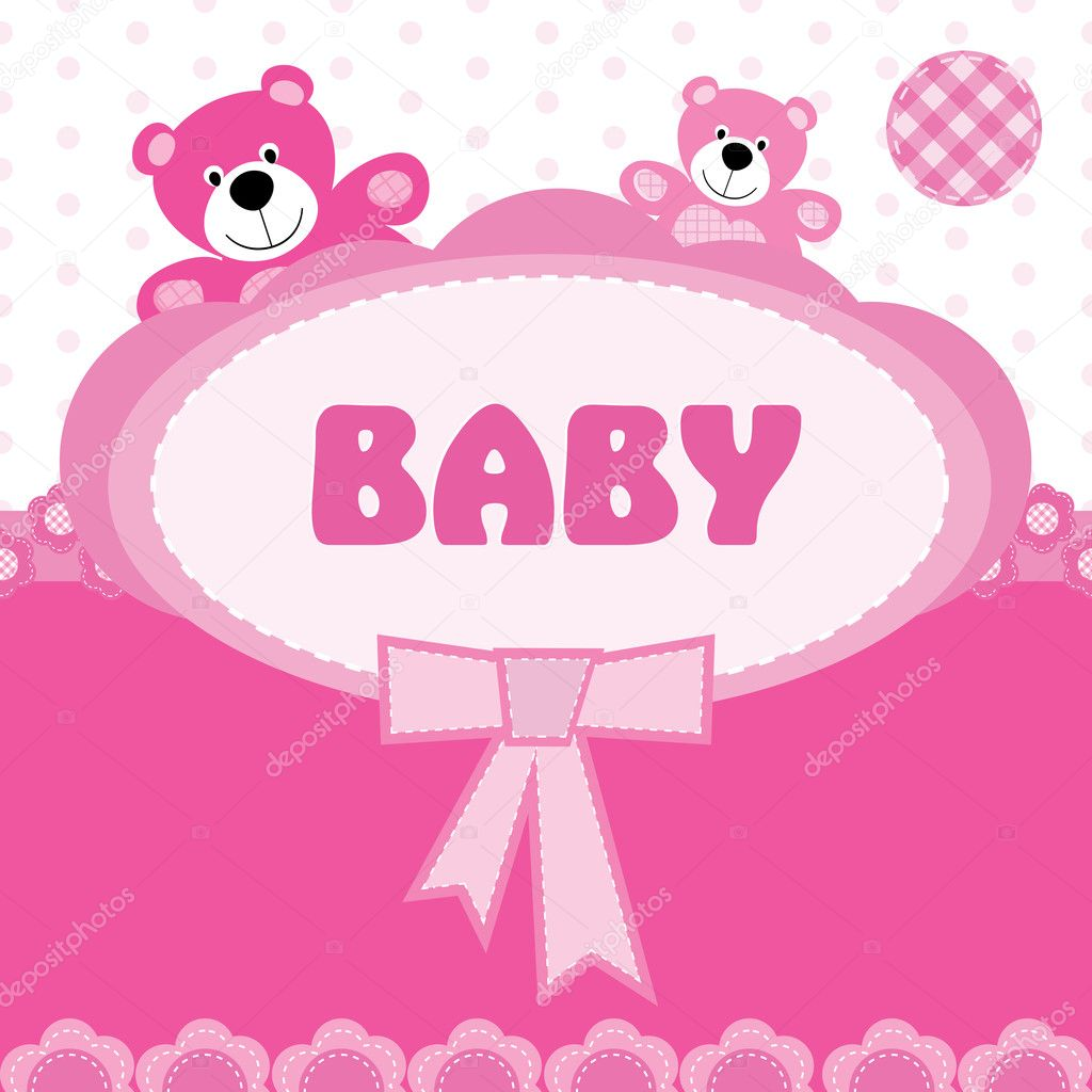 Greeting card with the birth of a baby girl stock vector greeting card with the birth of a baby girl stock vector m4hsunfo Choice Image