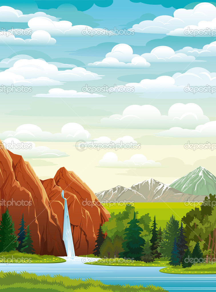 Summer landscape with waterfall and clouds