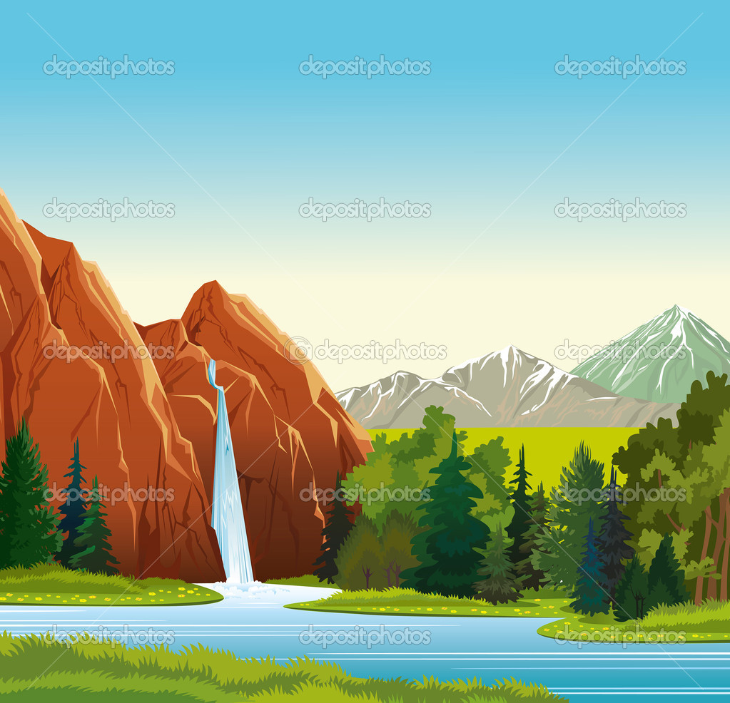 Summer landscape with waterfall, forest and mountains