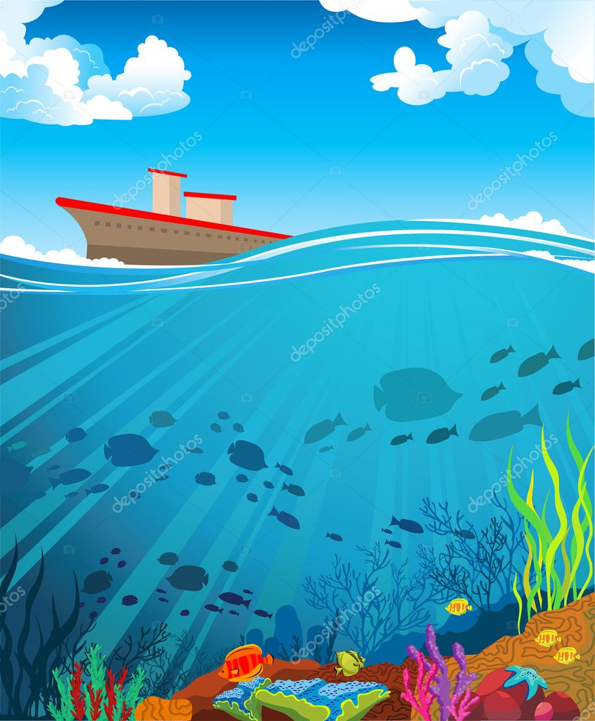 Colored coral reef and ship