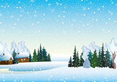 Winter landscape with houses, forest and frozen lake clip art vector