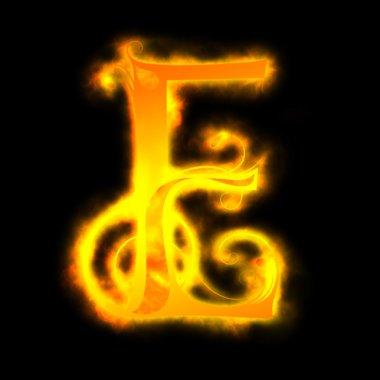 Red fiery letters, E