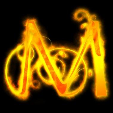 Red fiery letters, M