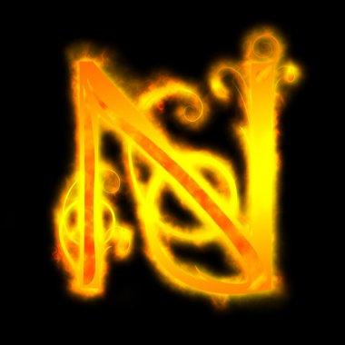 Red fiery letters, N