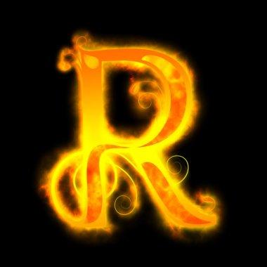 Red fiery letters, R
