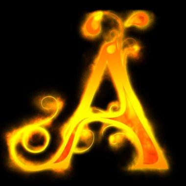 Red fiery letters, Ä