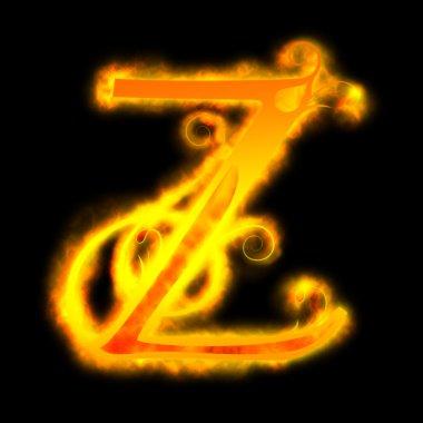 Red fiery letters, Z