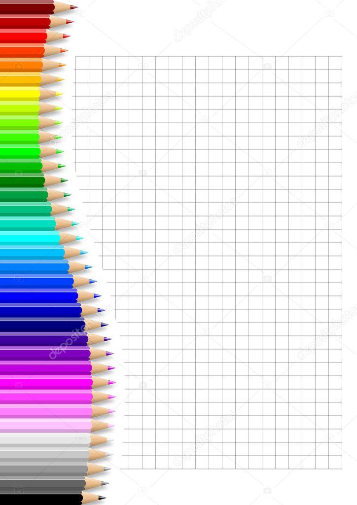 pared de lápices colores sobre hojas de Cuadernos cuadriculados ...