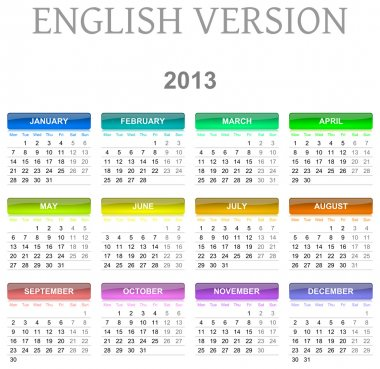 2013 calendar english version
