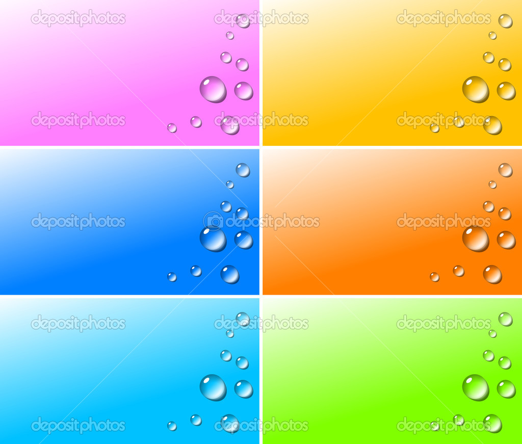 Transparent water drops on colorful backgrounds