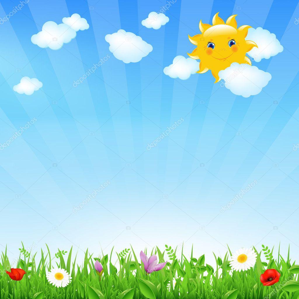 cartoon landscape with sun  u2014 stock vector  u00a9 sammep  10808780