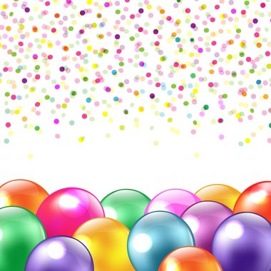 Balloons And Confetti, Isolated On White Background, Vector Illustration stock vector