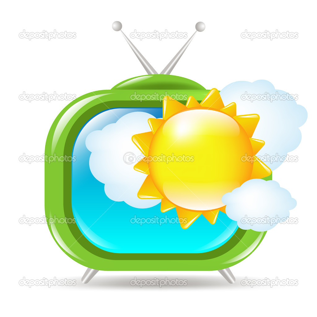 Retro Tv Set With Sun And Clouds