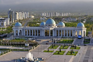 General Views to the main square and palace Ruhyet. Ashkhabad. Turkmenistan.